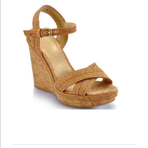 c249f022419 Stuart Weitzman Minx Camel Woven Cork Wedge Sandal